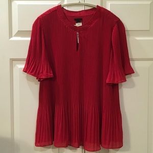New ANN TAYLOR Pleated Blouse Size Large